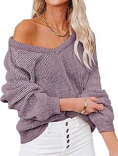 Chriselda Suéter para Mujer, Casual, Cuello en V, Manga Larga, suéteres de Punto de Gran tamaño, para Mujer