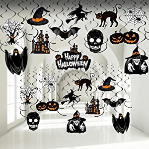 Halloween Hanging Swirl Decorations Halloween Foil Ceiling Hanging Spiral Decoration Halloween Witch Pumpkin Ghost Cutout Decorations for Home School Room Office Halloween Party Supplies, 30 Pieces
