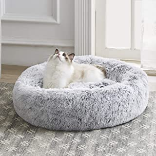 """Western Home Faux Fur Dog Bed Donut Cuddler Pet Calming Beds for Medium Small Dogs and Cats 20"""" Light Grey"""