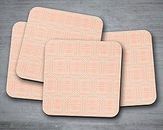 Posavasos melocotón con un diseño geométrico blanco, posavasos individuales o juego de 4