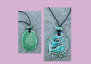 Mayan EB Necklace Mesoamerican Tzolk'in Day Sign Grass Glyph Ceramic Amulet Turquoise Green Clay Pendant
