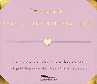 """Lucky Feather Happy Birthday Gifts for Women and Girls - 14K Gold Dipped Love Heart Bracelet for Girls on Adjustable 7""""- 8"""" Cord"""
