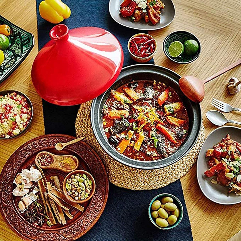 WM Tajin marocain 23cm Pot de Taji en céramique mijoteuse poêle antiadhésive sans fumée adaptée à la Plupart des ustensiles de Cuisine,Orange Yellow