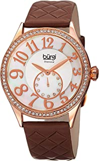 Burgi Women'S Mother Of Pearl Diamond Dial Leather Band Watch - Bur141Rgbr - Brown