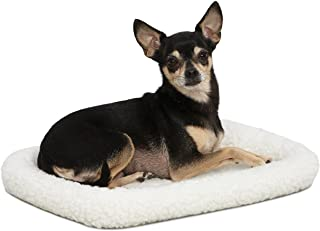 18L-Inch White Fleece Dog Bed or Cat Bed w/Comfortable Bolster | Ideal for Toy Dog Breeds & Fits an 18-Inch Dog Crate | Ea...
