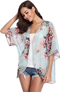 b68fd24eed Abollria Womens Floral Print Sheer Chiffon Kimono Cardigan Blouse Loose Beach  Cover up