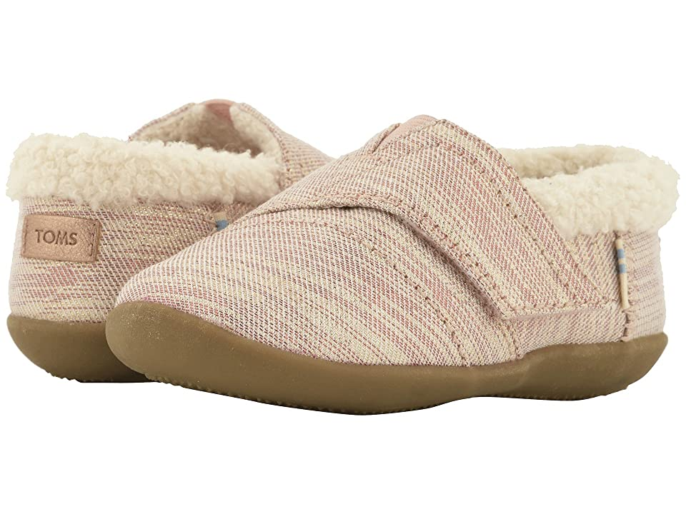 TOMS Kids House Slipper (Infant/Toddler/Little Kid) (Rose Cloud Twill Glimmer) Girls Shoes