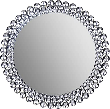 """Everly Hart Collection Round Jeweled, 24"""" Mirrors, 24"""" x 24"""""""