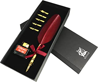 KenTaur Calligraphy Quill Pen Set (CS-0202) - Dip Pen with Red Turkey Feather, 6 Stainless Steel Nib, and European Ink. Great for Beginner/Enthusiast