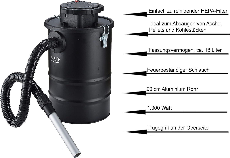Tubo ignifugo aspiratore Aspiracenere aspiracenere Aspiratore per camino 18 litri Aspirapolvere Filtro HEPA aspiracenere Aspirapolvere Aspirapolvere al carbone 1000 Watt