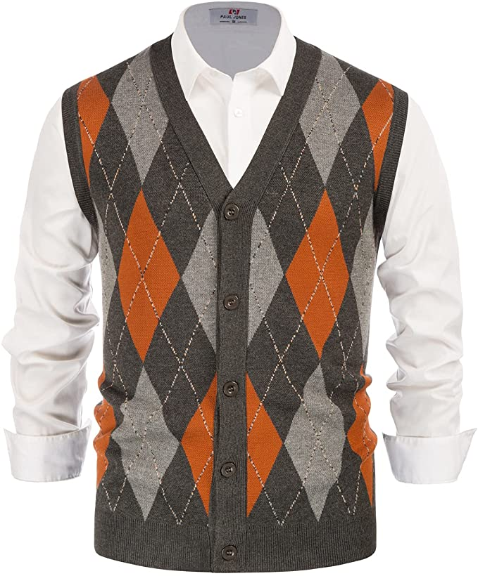 Men's Vintage Sweaters, Retro Jumpers 1920s to 1980s PJ PAUL JONES Mens Sweater Vest Cardigan Button Front Knitwear Contrast Color Argyle Sweater Vest  AT vintagedancer.com