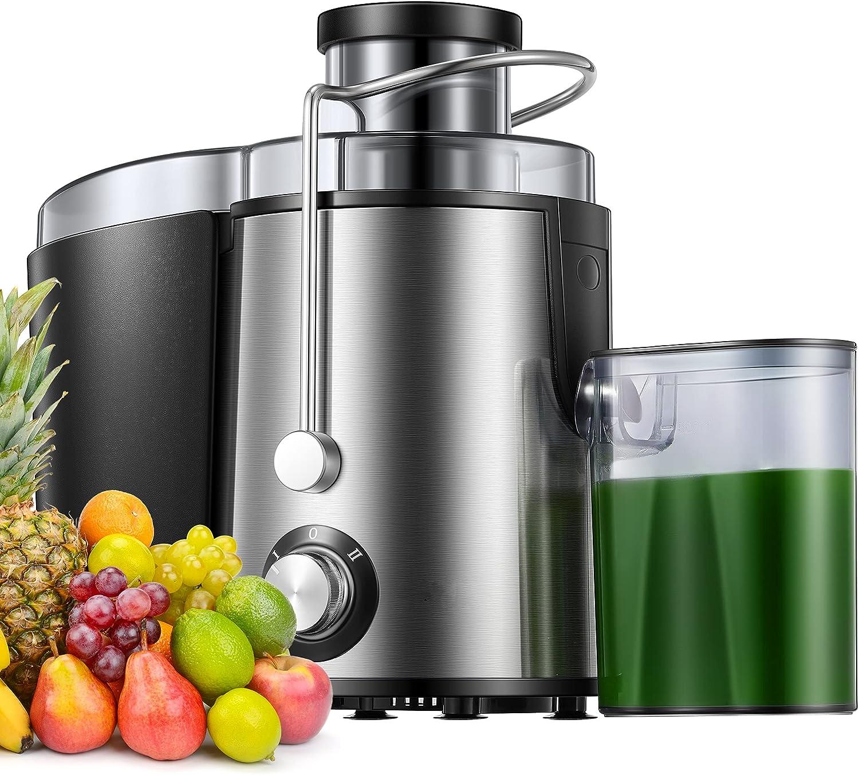 Licuadoras Para Verduras y Frutas, Amplio Conducto de Alimentación Boca Ancha, Extractor de Jugos Libre de BPA, Exprimidor Extractor de Acero Inoxidable Con Modo de 2 Velocidades, Función Que No Gotea