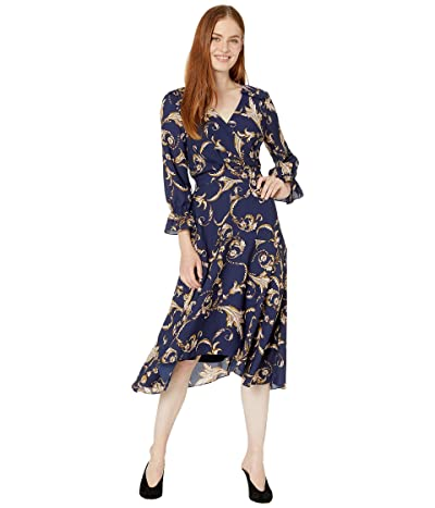 Tahari by ASL Long Sleeve Printed Crepe Status Print Dress w/ Uneven Hemline (Navy/Beige/Floral) Women