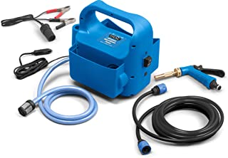 Trac Outdoors Portable Washdown Pump Kit - Self-Priming Marine-Grade Pump - Includes Everything Needed to Power-Spray, Just Add Water (69380) , Blue