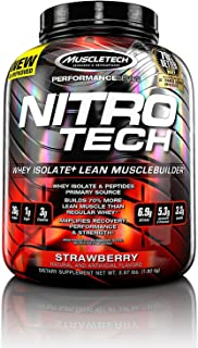 MuscleTech NitroTech Protein Powder Plus Muscle Builder, 100% Whey Protein with Whey Isolate, Strawberry, 4 Pounds (40 Servings)