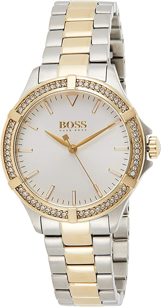 Hugo boss, orologio da donna,in acciaio inossidabile bicolore e placcato in oro giallo, lunetta impreziosita 1502467