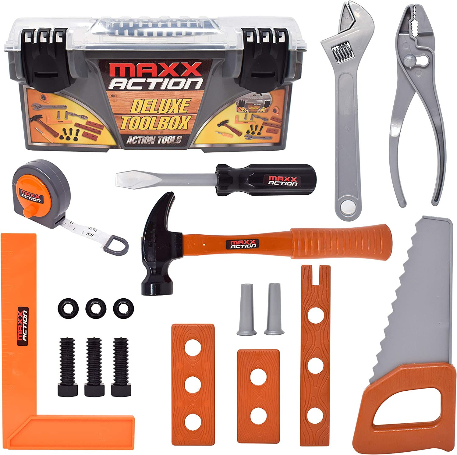 Sunny Days Entertainment Maxx Action Deluxe Kids Tool Box – Construction Tool Set with Measuring Tape | Toddler Toy Tool Set for Boys