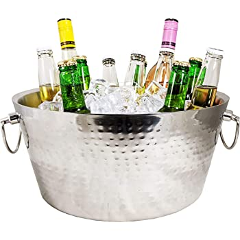 BREKX Stainless-Steel Double-Walled Insulated Beverage Tub for Ice and Drinks, Beverage Chiller for Parties - 3 GALLONS - Double-Hinged Handles