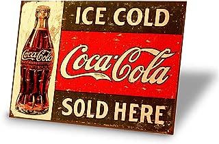 Tin Signs Ice Cold Coca Cola Sold Here Retro Vintage Bar Signs Vintage 12 X 8 Inch