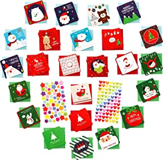 Boao 48 Pieces Mini Christmas Cards with Envelopes and 2 Sheets Stickers, Small Size 2.75 by 2.75 Inch Different Patterns Greeting Holiday Cards