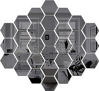Bikri Kendra® - Art BK 221,Hexagon 31 Black - 3D Acrylic Decorative Mirror Murals Wall Stickers