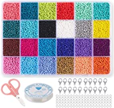 Seed Beads for Bracelets, Acrsikr 2mm Colored Small Glass Pony Beads for Bracelets Jewelry Making Crafts 24000 pcs (24 Color)