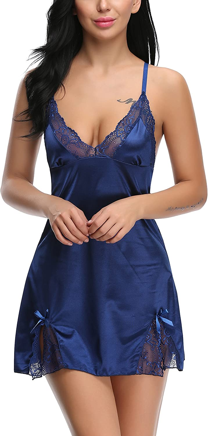 Holagift Women Sexy Lingerie Sleepwear V Neck Satin Lace Chemise Nightgown