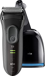 Braun Electric Foil Shaver for Men with Clean & Charge Station, Series 3 ProSkin 3050cc Electric Razor for Men, Pop-up Trimmer, 100% Waterproof, Rechargeable and Cordless Electric Shaver, Black