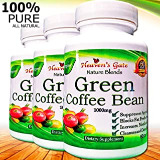 Green Coffee Bean Extract - All Natural Weight Loss Supplement - 1000 mg - 180 Capsules 3 Month Supply - 100% Pure - Appetite Suppressant Diet Pills - Detox - Boosts Energy & Metabolism (3)