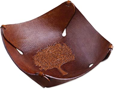 NOVICA Leaf and Tree Leather Tray, Brown, Tree of Life'