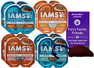 Iams Perfect Portions Grain Free Pate Cuts in Gravy Cat Food 4 Flavor 8 Can Sampler, (2) Each: Indoor Chicken, Chicken, Salmon, Indoor Tuna (2.6 Ounces) Plus Toy and Fun Animal Facts Booklet Bundle