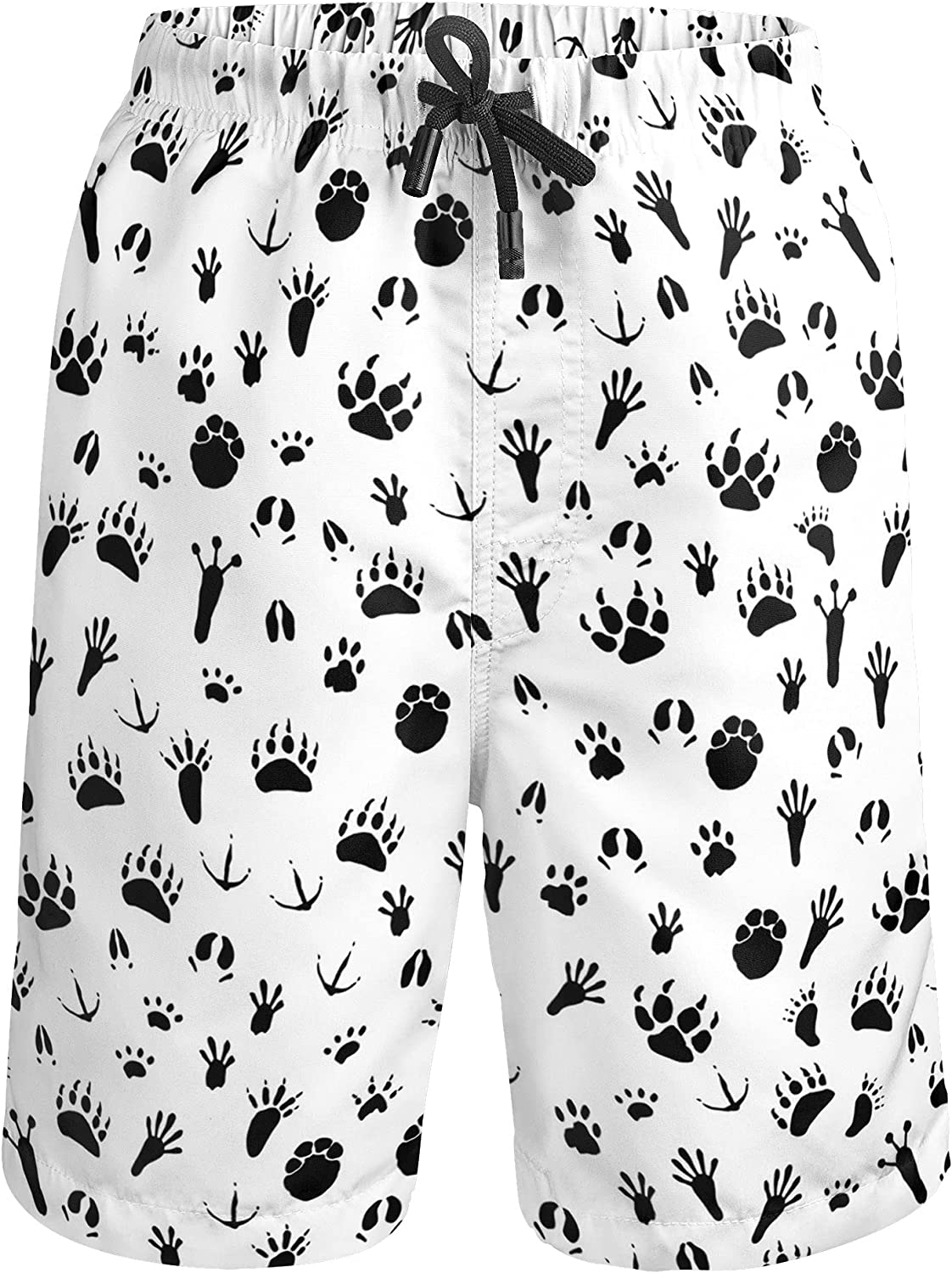 Boys Swim Trunks Quick Dry Beach Surf Boards Shorts Dog Puppy Paw Print Swimsuits with Pockets 4T-16T