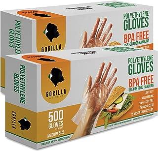 1000 BPA Free Disposable Poly PE Gloves Medium, Food Grade, 2 Pack of 500