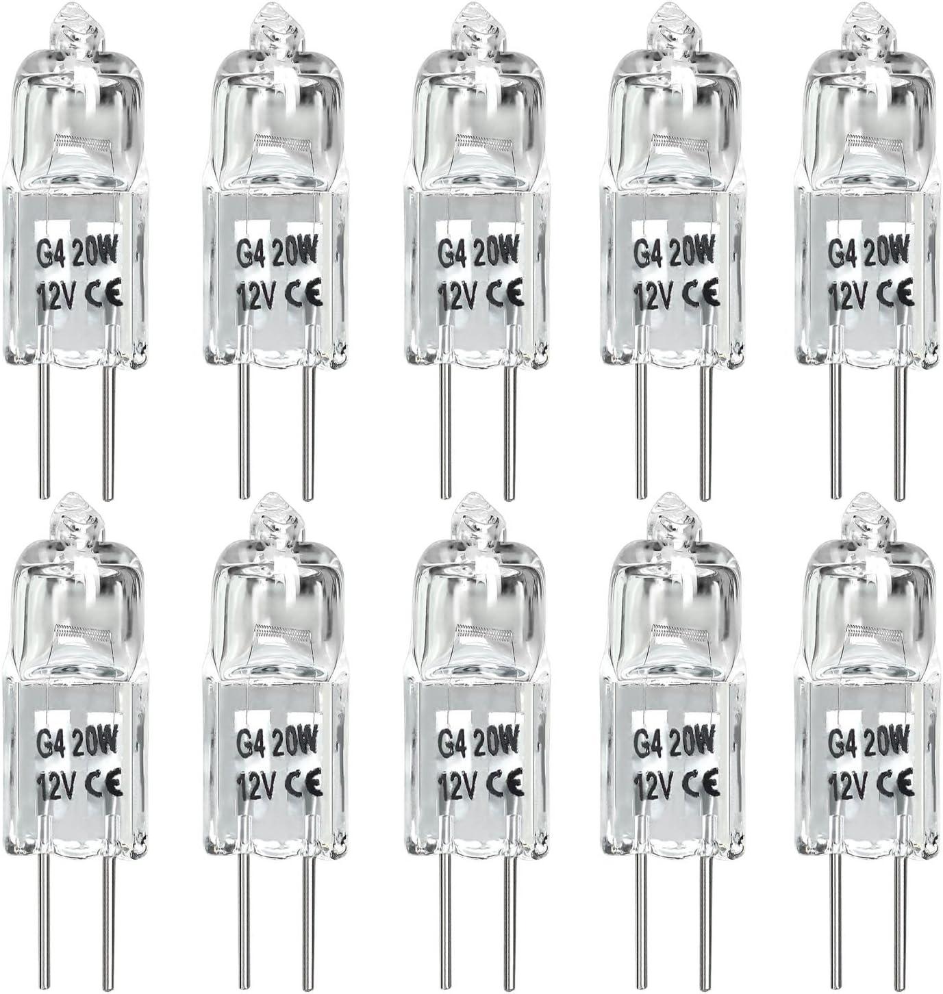 20W G4 Halogen Light Bulbs G4 Bin-Pin Base Light Bulb JC Type 12 Volt Dimmable Soft White 2800k Pack of 10