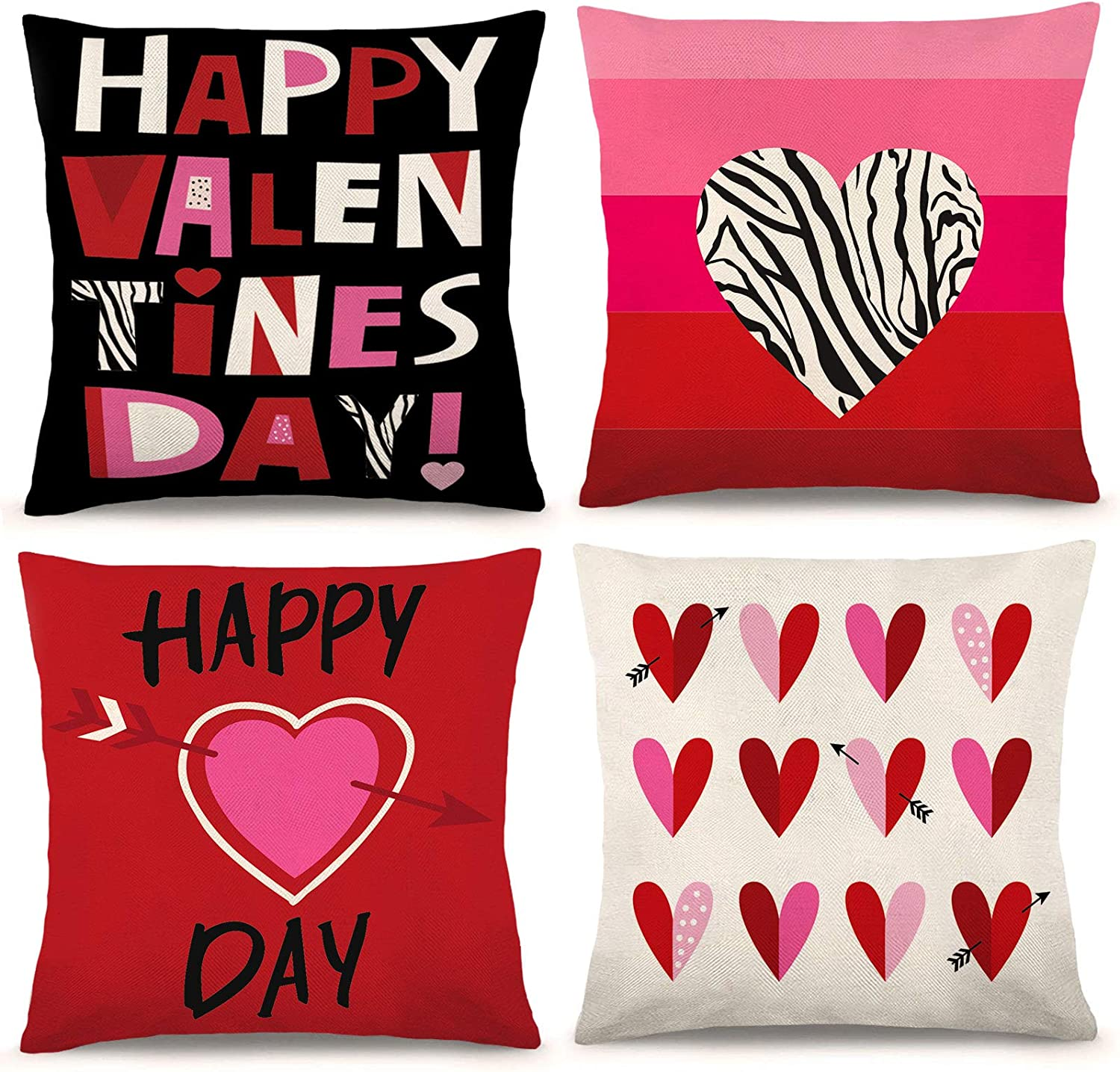 Whaline Happy 40% OFF Cheap Sale Valentine's Day Pillow Cover Cas Max 53% OFF Heart Love
