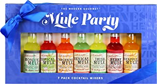 Thoughtfully Gifts, Mule Party Cocktail Mixers, 2.3 Fluid Ounces Each, 7 Unique Drink Mixes like Moscow, Tropical, Mexican, Tangerine and More, Set of 7 (Contains NO Alcohol)