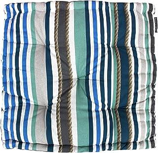 Douceur d'Intérieur Cojín de Suelo 60x 60x 10cm algodón Imprime Matelot Azul