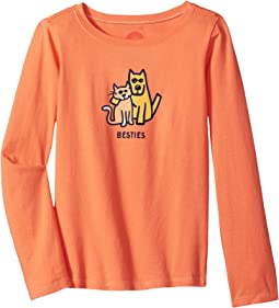 Life is Good Kids - Besties Cat & Dog Long Sleeve Crusher Tee (Little Kids/Big Kids)