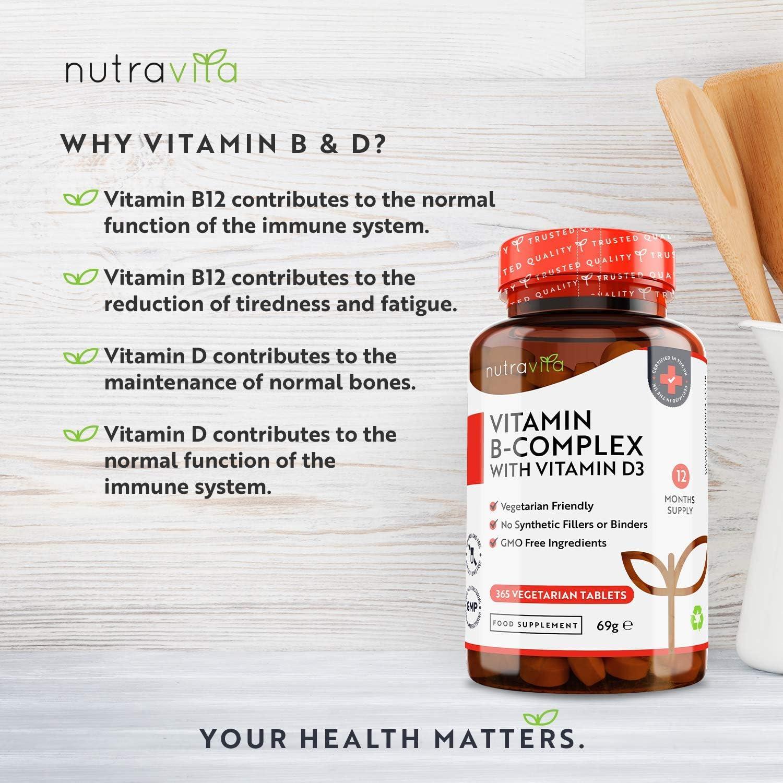 Integratore alimentare B COMPLEX con D3. 365 capsule (stock annuale) Complesso 8 Vitamine B ad Alta Dosaggio in 1 Compressa - B1, B2, B3, B5, B6, B12, Biotina, Acido folico