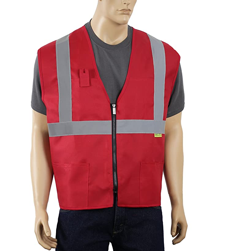 Safety Depot Non Ansi Safety Vest Zipper with Pockets High Visibility Reflective Red A520 (5XL)