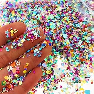 Wankko Multicolor Manicure Glitter Confetti 7.2oz/200g, Mixed Shapes Size 2-4mm For Party Decoration, DIY Crafts, Premium Nail Art Etc