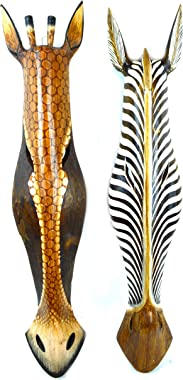 "Set of 2 African Zebra and Giraffe Mask Extra Large Jungle Art 32"""