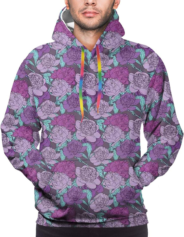 Men's Hoodies Sweatshirts,Pastel Tone Delicate Peonies with Curled Leaves Vintage Style Tangled Arrangement