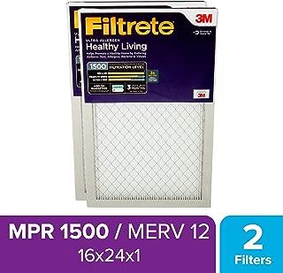 Filtrete 16x24x1, AC Furnace Air Filter, MPR 1500, Healthy Living Ultra Allergen, 2-Pack