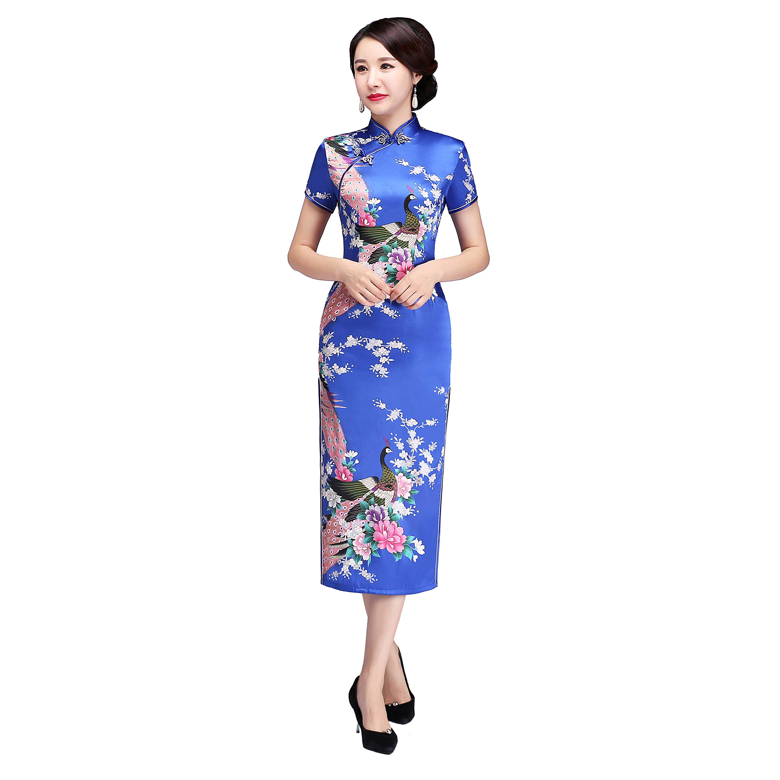 Available at Amazon: Shanghai Story Peacock Print Long Qipao Chinese Style Dress Cheongam