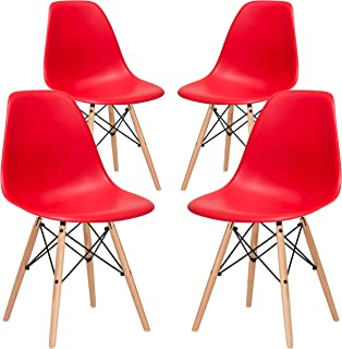 Poly and Bark Modern Mid-Century Side Chair with Natural Wood Legs for Kitchen, Living Room and Dining Room, Red (Set of 4)