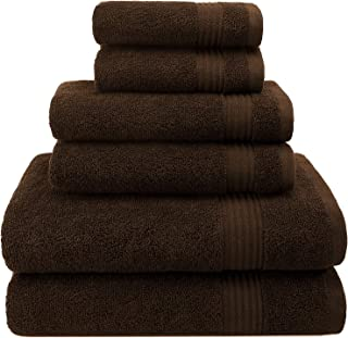 Hotel & Spa Quality, Absorbent and Soft Decorative Kitchen and Bathroom Sets, Cotton, 6 Piece Turkish Towel Set, Includes 2 Bath Towels, 2 Hand Towels, 2 Washcloths, Chocolate Brown