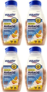 Equate Extra Strength Sugar Free Antacid Orange Cream Flavor, 90 Count, Pack of 4