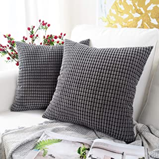 Best MERNETTE Pack of 2, Corduroy Soft Decorative Square Throw Pillow Cover Cushion Covers Pillowcase, Home Decor Decorations for Sofa Couch Bed Chair 18x18 Inch/45x45 cm (Granules Dark Grey) Review