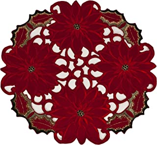 Linens, Art and Things Embroidered Elegant Rich Christmas Red Poinsettia Gold Thread Green Leaves Holiday Doily Small Round Doily Place Mat Centerpiece 16 Inch Round